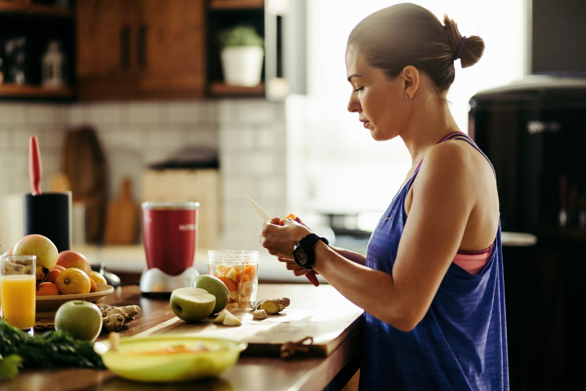 Young Woman Making Healthy Meal by Intuitive Eating